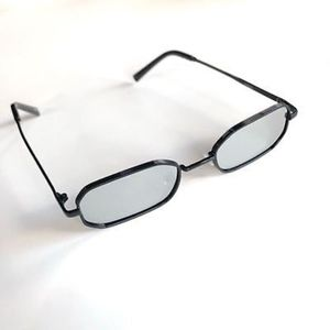 Accessories - CHROME Rectangle Slim Mirrored Lens Sunglasses